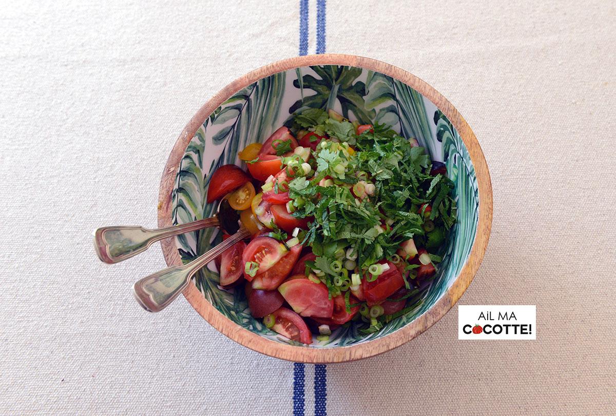 salade de tomates et de pois chiches