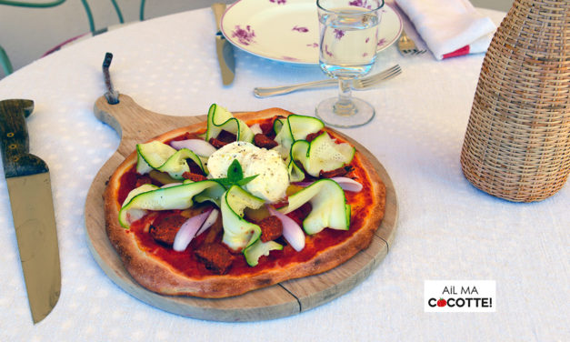 PIZZA BURRATA, COURGETTE ET N'DUJA