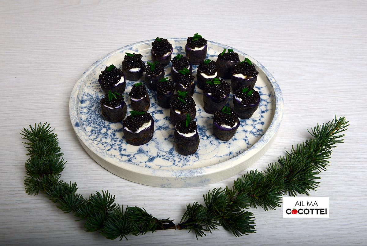 Petites pommes de terre vitelottes au caviar