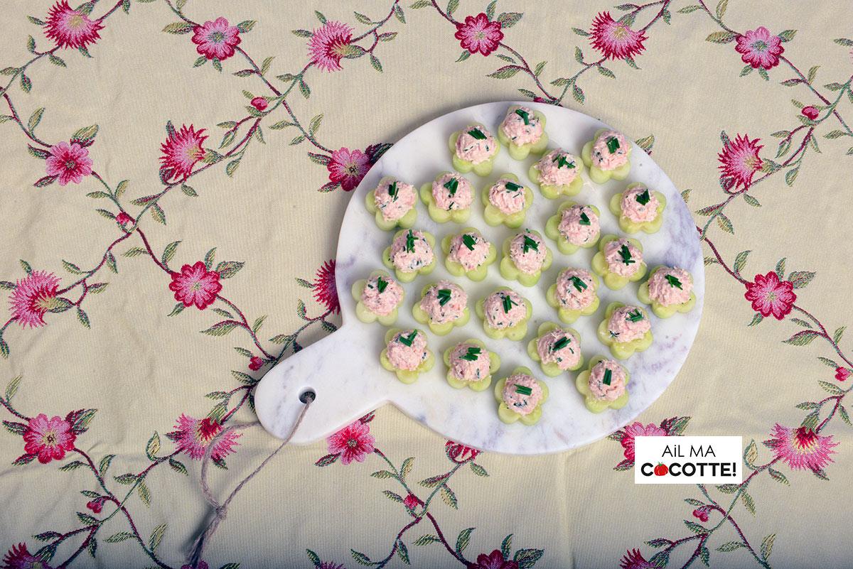 Fleurs de concombre au thon