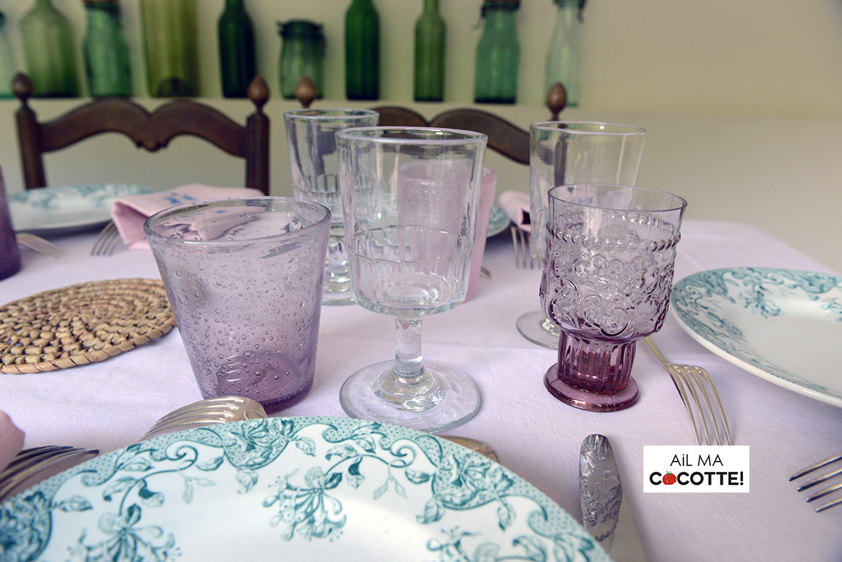 Table verte et rose