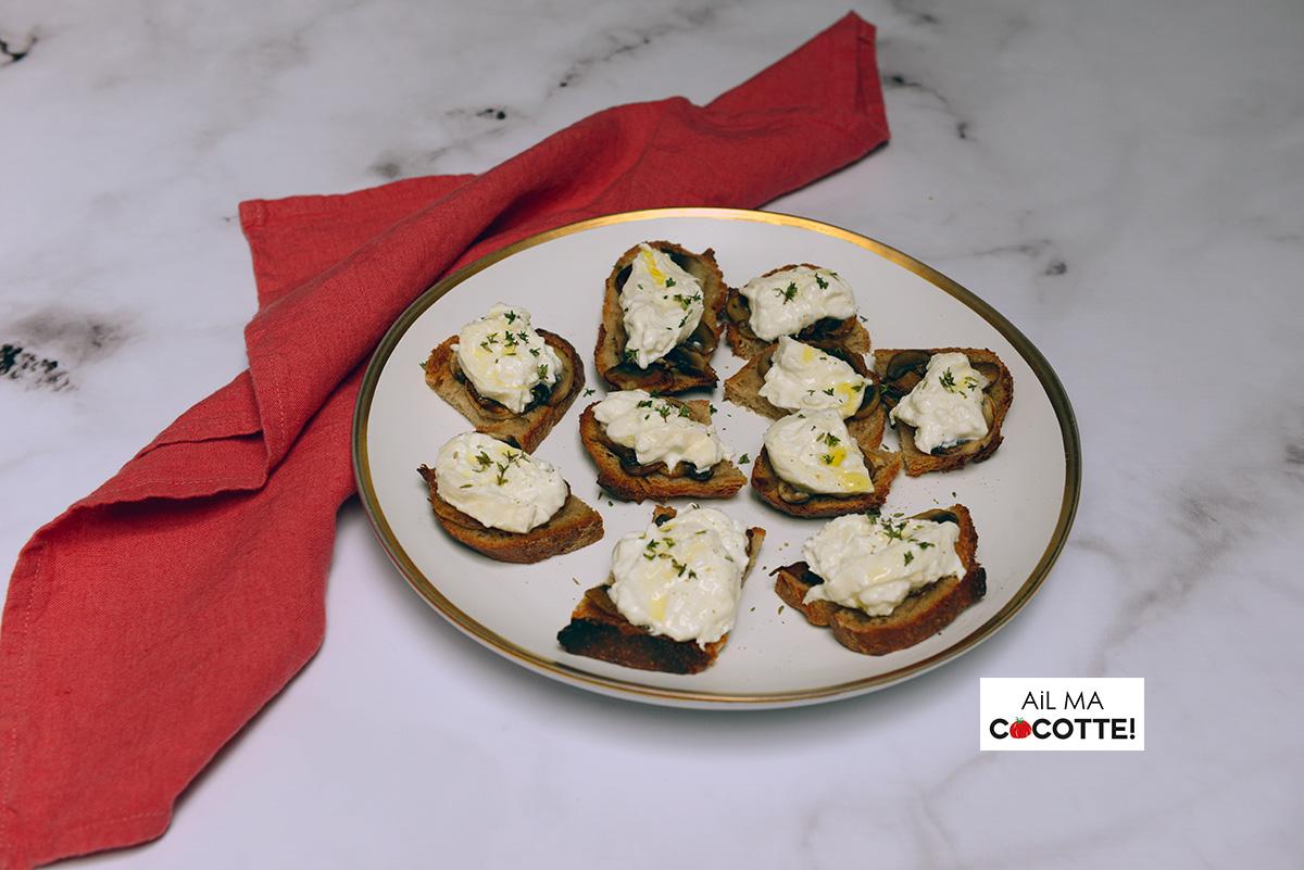 crostinis champignons burrata