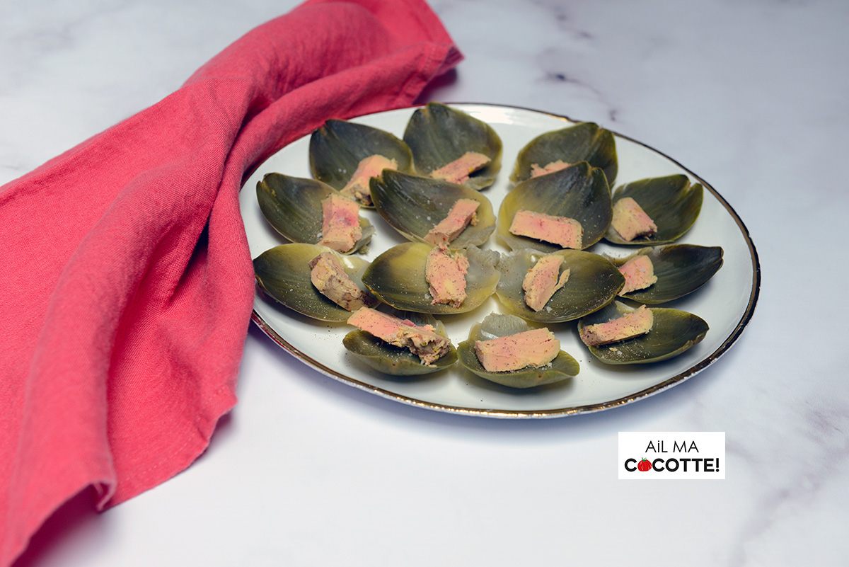 Feuilles d'artichaut au foie gras