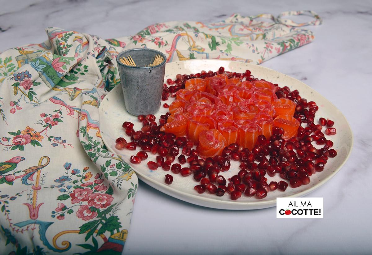 Rosaces de saumon gravlax