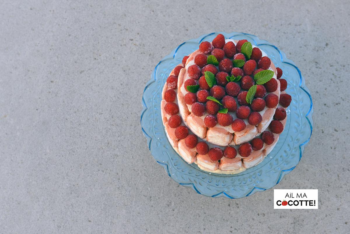 Charlotte rose rhubarbe aux framboises