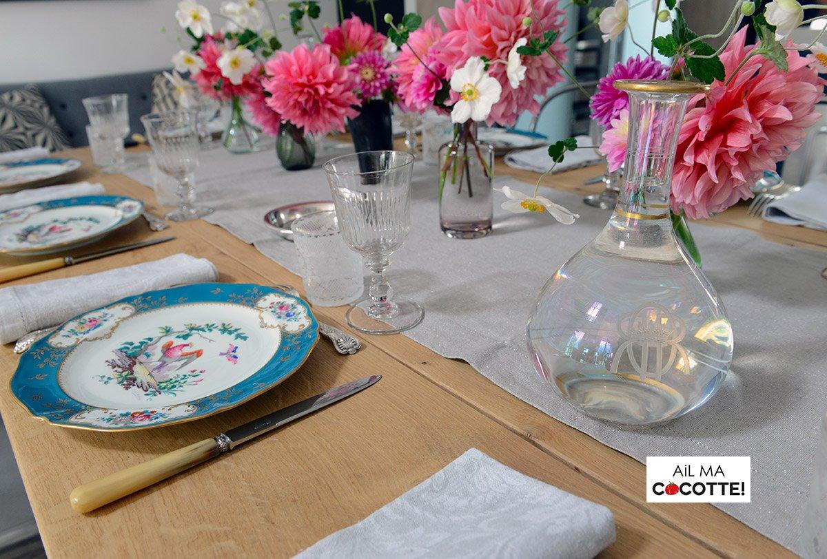 Table dahlias et anémones, ailmacocotte.com