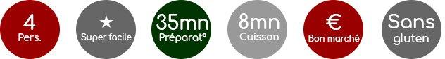 Pour 4 personnes, super facile, 35 mn de préparation, 8 mn de cuisson, bon marché, sans gluten, ailmacocotte.com