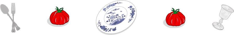 Icones de vaisselles et tomates, ailmacocotte.com