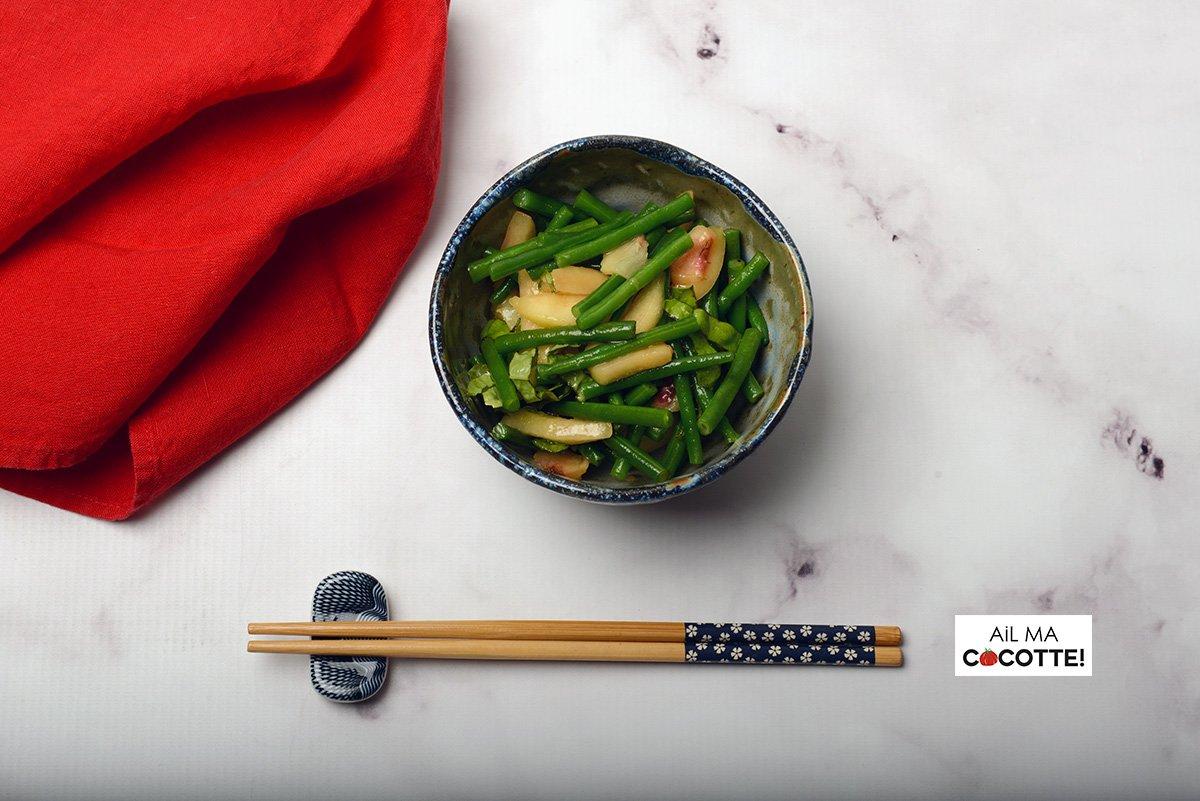 Petite salade d'haricots verts et pêches blanches, ailmacocotte.com