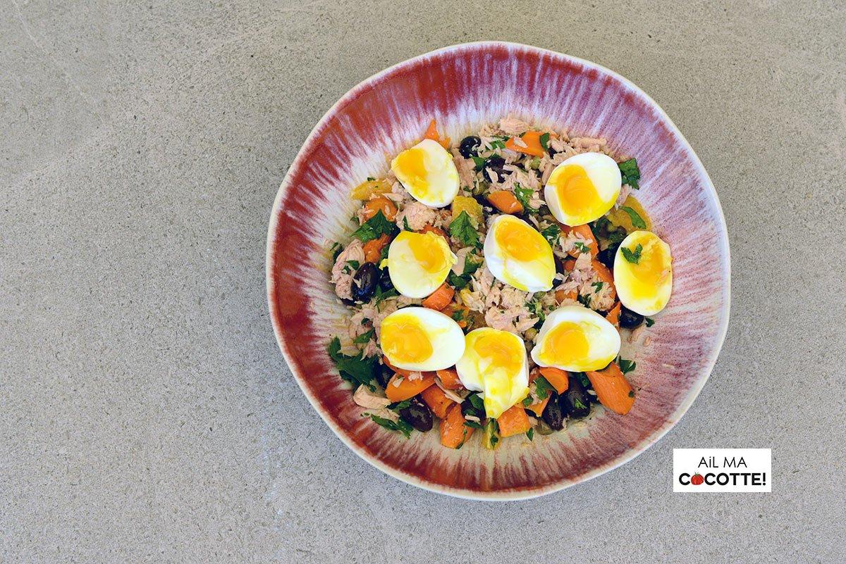 Salade de thon, carottes, orange et œufs mollets, ailmacocotte.com