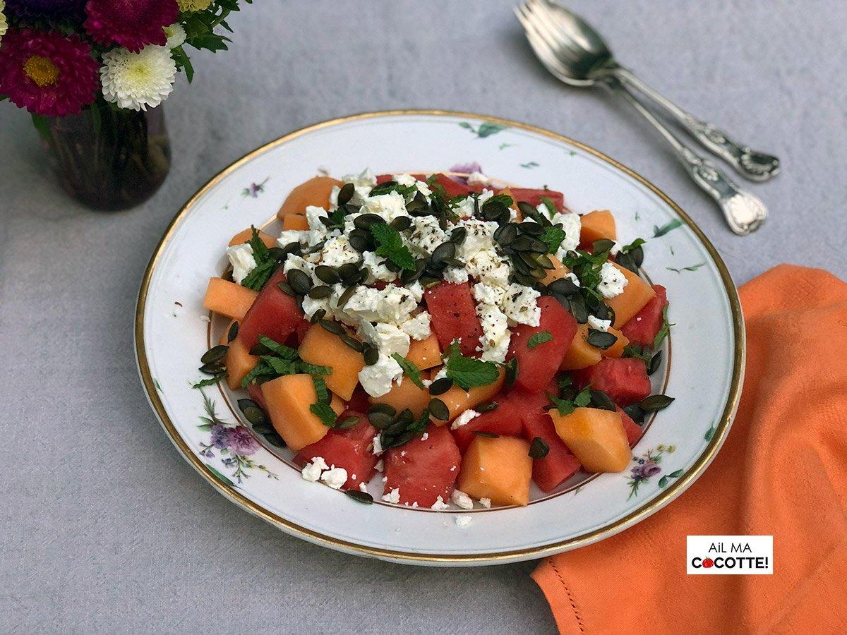 Salade de melon, pastèque, feat, ailmacocotte.com