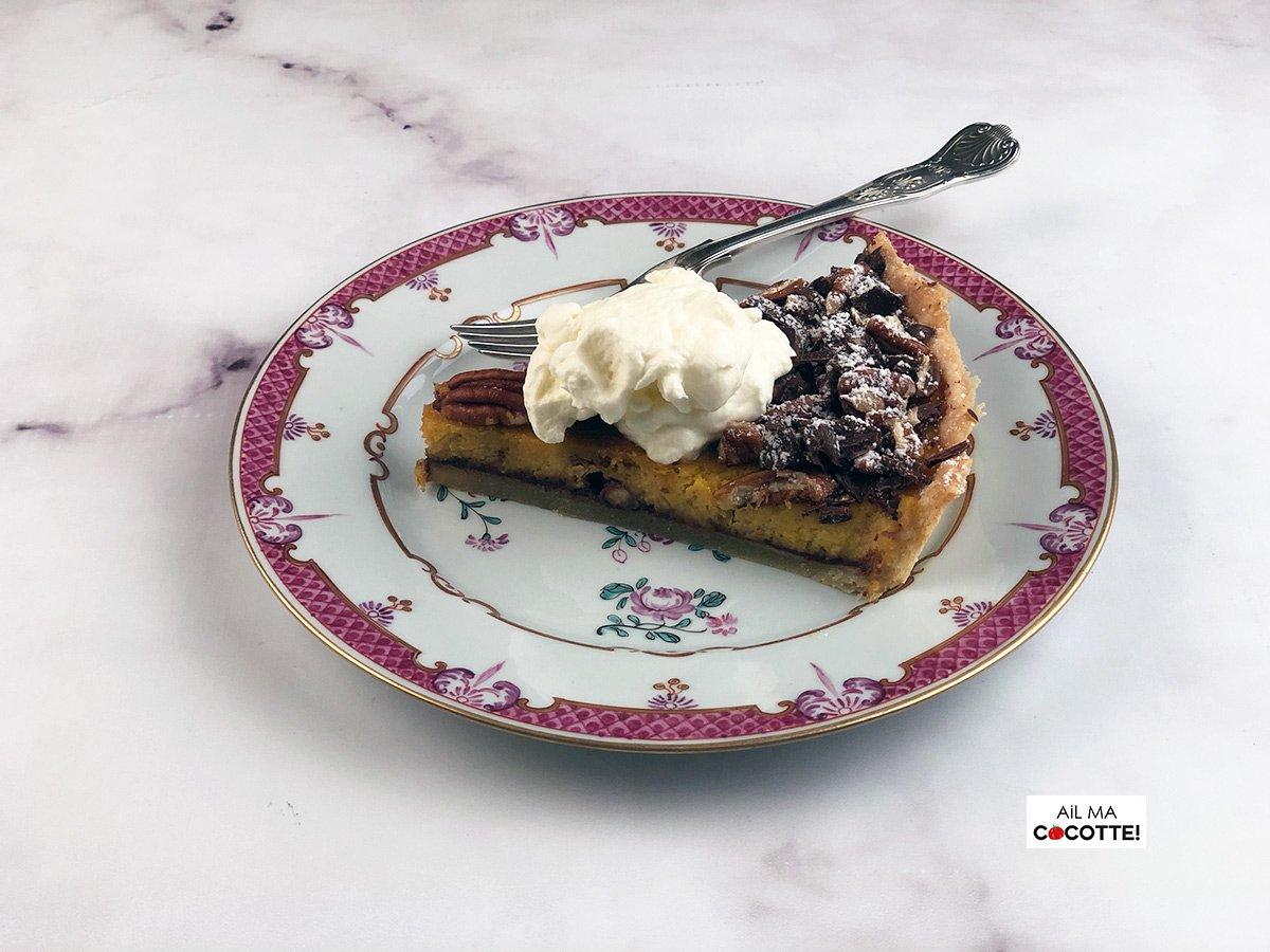 Tarte au potimarron, chocolat et noix de pécan, ailmacocotte.com