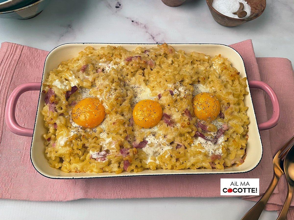 Coquillettes gratinées au jambon et au fromage, ailmacocotte.com