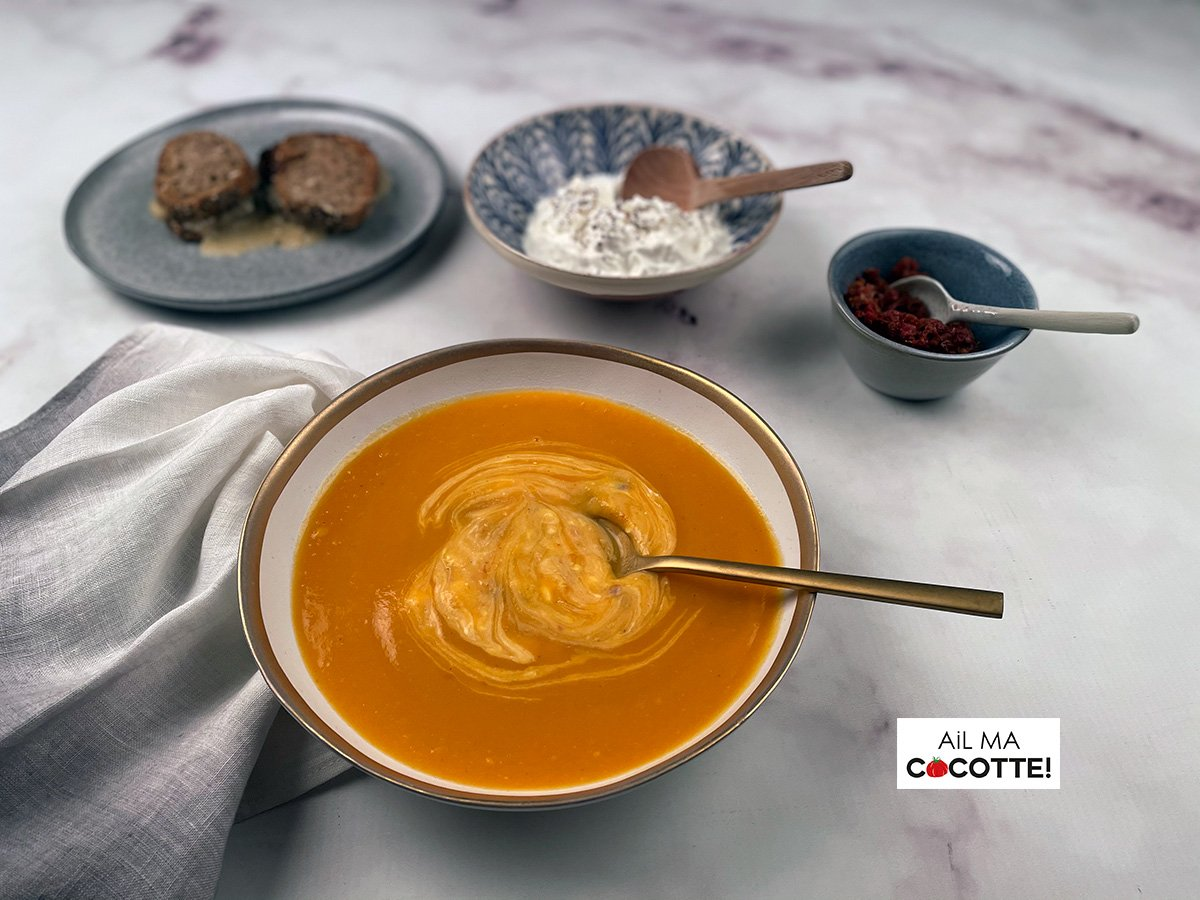 Soupe de patates douces au cumin et à la feta, ailmacocotte.com