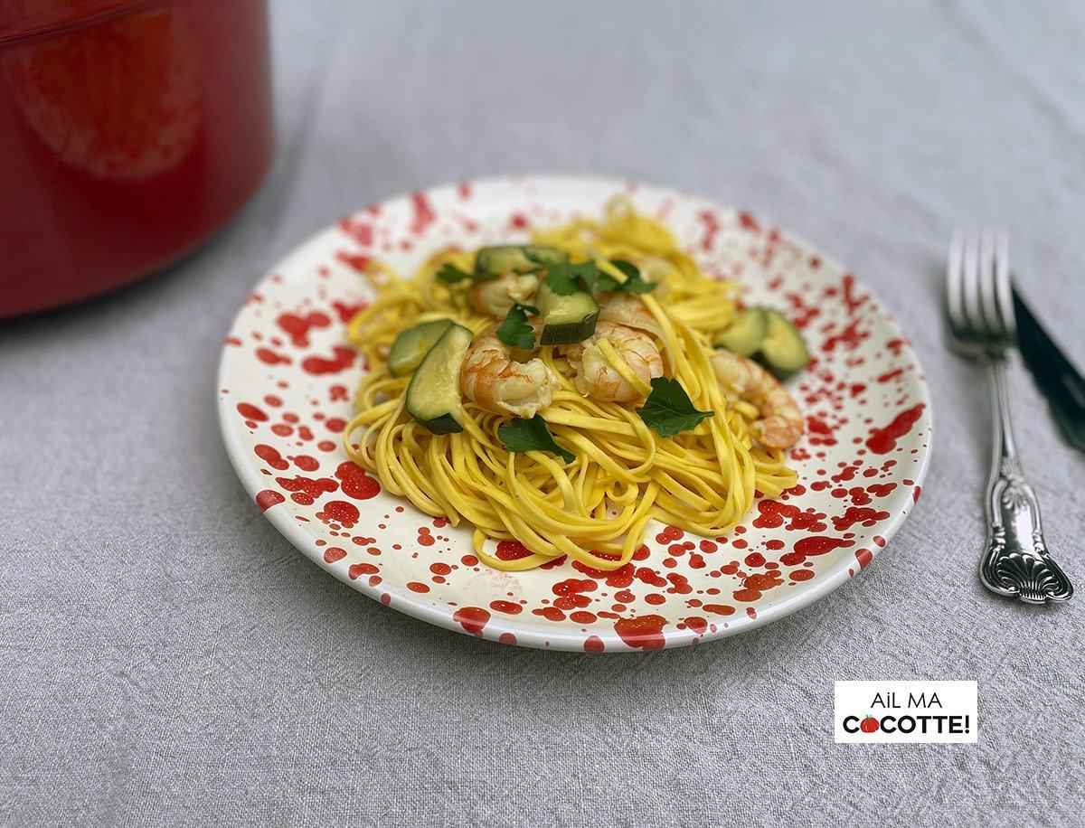 Tagliolini aux crevettes et courgettes, ailmacocotte.com