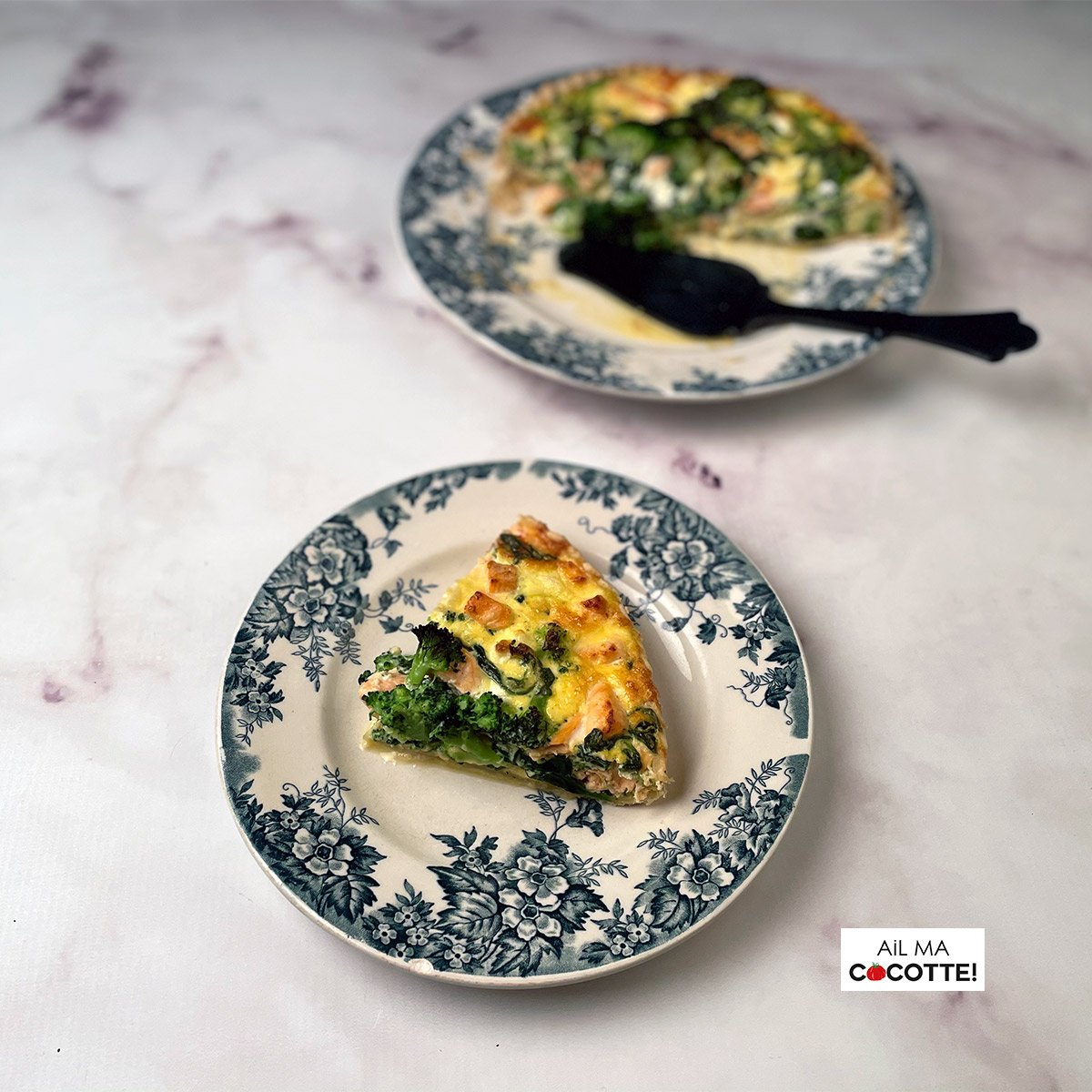 Quiche au saumon, brocoli, chèvre et épinards, ailmacocotte.com